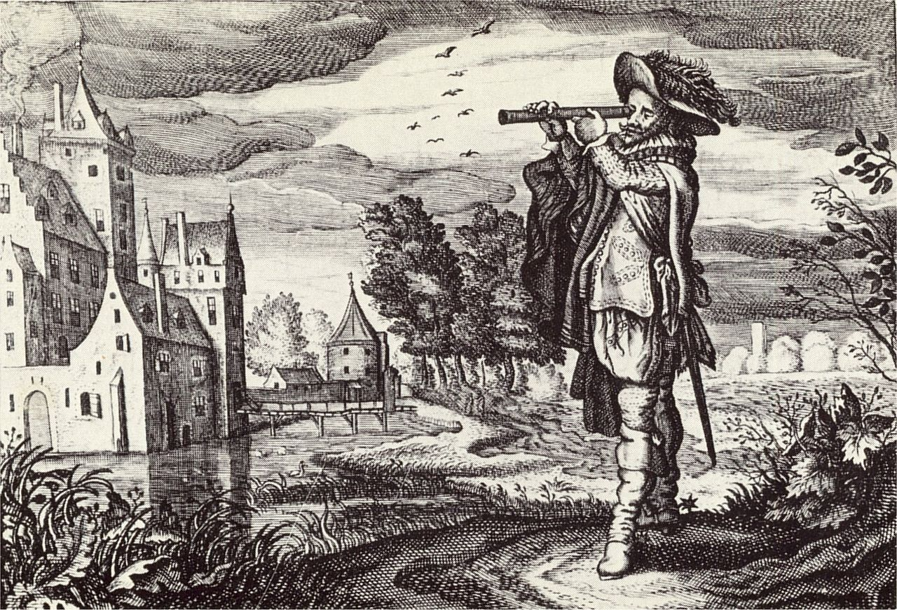 """Early depiction of a 'Dutch telescope' from the """"Emblemata of zinne-werck"""" (Middelburg, 1624)"""